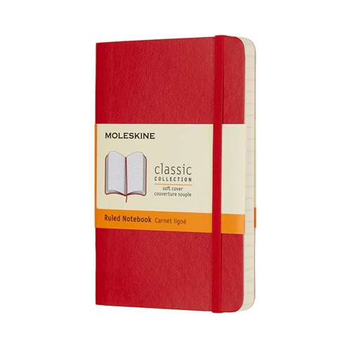 MOLESKINE CLASSIC SOFT COVER - POCKET RED RULED