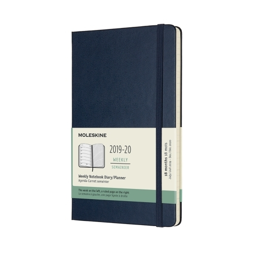 MOLESKINE HARD COVER 18-MONTH WEEKLY NOTEBOOK DIARY 2019-2020 - LARGE BLUE