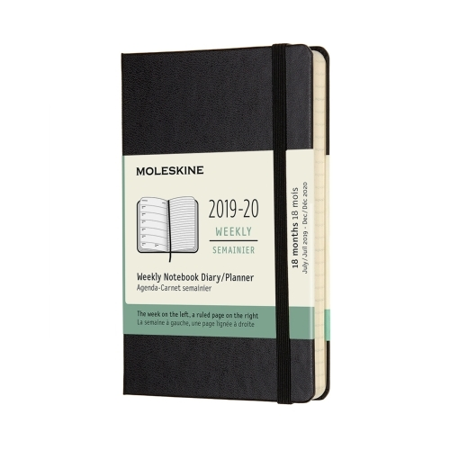 MOLESKINE HARD COVER 18-MONTH WEEKLY NOTEBOOK DIARY 2019-2020 - POCKET BLACK